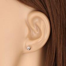 375 Weißgold Ohrringe - einfache Kugel, glänzende Oberfläche, 5 mm