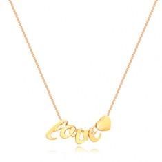 375 Gelbgold Halskette - dünne Kette, Buchstaben l, o, v, e, Herz