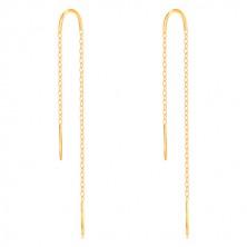 9K Gelbgold Ohrringe - glänzender Ring, schmaler Streifen und Kette