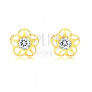 Ohrringe aus 585 Gelbgold - Blume mit fünf Blütenblättern und Zirkon, Ausschnitte