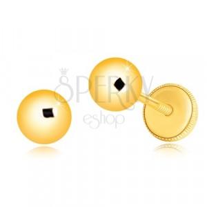 585 Gelbgold Ohrringe - einfache glänzende Kugel, 5 mm