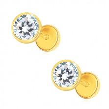 585 Gold Ohrringe - klarer glitzernder Zirkon in runder Fassung, Ohrstecker mit Schraubverschluss, 5 mm