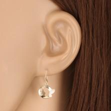 Ohrringe aus kombiniertem 375 Gold - glänzender Kreis mit Schmetterling und Zirkonen