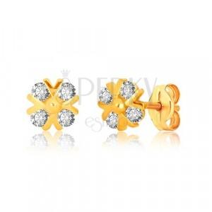 375 Gelbgold Ohrringe - Zirkon Blume mit glänzenden v-Linien und Kugel, Ohrstecker