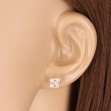Ohrringe aus 585 Gelbgold - glitzerndes Zirkon Quadrat in glänzender Fassung, Ohrstecker mit Schraubverschluss, 6 mm