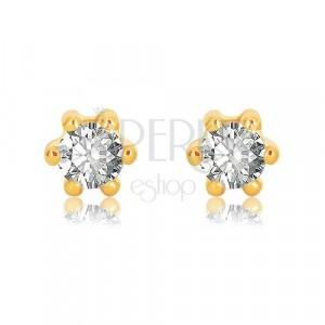 375 Gelbgold Ohrringe - glitzernder Zirkon in klarer Farbe mit sechs Krappen befestigt, 5 mm