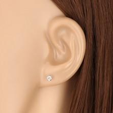 375 Weißgold Ohrringe - runder Zirkon in transparentem Farbton, vier Krappen, 3 mm