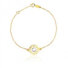 Armband aus kombiniertem 375 Gold - geschnitzte Blume und Zirkon Ring