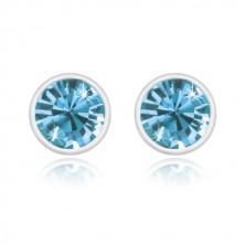 Ohrringe aus 925 Silber - glitzernder Zirkon in einem himmelblauen Farbton, glänzende runde Fassung