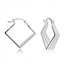 925 Silber Ohrringe - räumlicher Rhombus und Gitter, französischer Verschluss