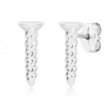 925 Silber Ohrringe, rechte Schraube - flacher Kopf mit Kerbe, Ohrstecker