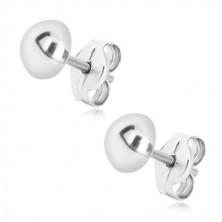 925 Silber Ohrringe - einfache Halbkugel, glänzende Oberfläche, 6 mm