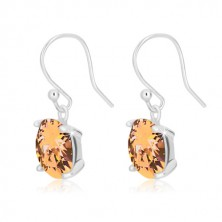 Ohrringe aus 925 Silber - Zirkon Quadrat in honiggoldener Farbe, abgerundete Kanten