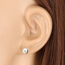 925 Silber Ohrringe - Kugel mit glänzender Oberfläche, 6 mm