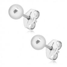 Ohrstecker, 925 Silber - Kugel, glatte und glänzende Oberfläche, 4 mm