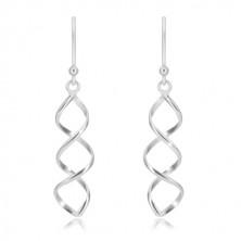 Hängende Ohrringe aus 925 Silber - glänzende Doppelspirale, Afrohaken