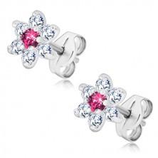 925 Silber Ohrringe - glitzernde klare Blume, rosa Zirkon in der Mitte, Ohrstecker