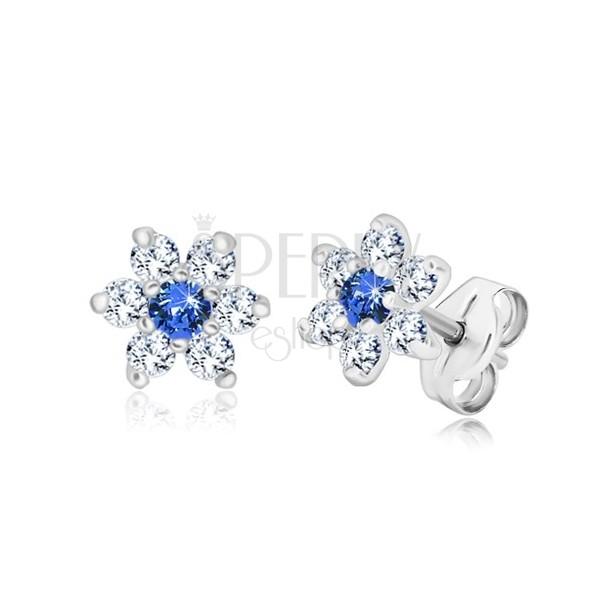 Ohrstecker, 925 Silber - glitzernde Blume, klare Zirkone und Mitte in saphirblauer Farbe