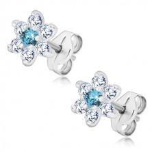 925 Silber Ohrringe - glitzernde Zirkon Blume, klar-himmelblau, Ohrstecker