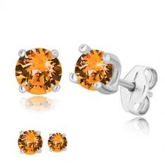 925 Silber Ohrringe - runder Zirkon in Honig-orange Farbton, quadratische Fassung