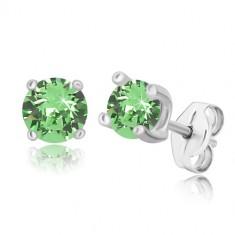 925 Silber Ohrringe - runder Zirkon in hellgrüner Farbe in quadratischer Fassung