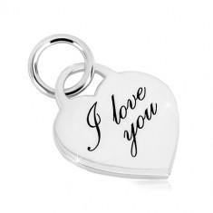 "925 Silber Anhänger - herzförmiges Schloss, zart eingravierte Aufschrift ""I love you"""