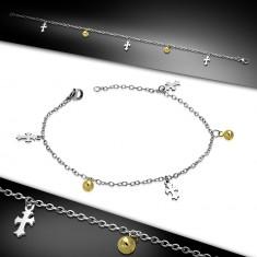 Stahl Fuß- oder Armkette - Lilienkreuze und Kugeln in goldener Farbe
