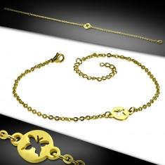 Stahl Arm- oder Fußkettchen in goldener Farbe - Kreis mit Ausschnitt in Form eines Schmetterlings