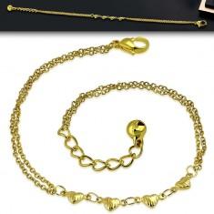 Stahl Kette in goldener Farbe - vier Herzen mit Kerben, Doppelketten, Glöckchen