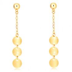 Ohrringe aus 9K Gelbgold - Halbkugel, Kette, drei flache glänzende Kreise