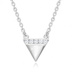 925 Silber Halskette - umgekehrtes Dreieck, glitzernde Zirkon Linie