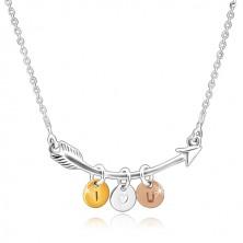 "925 Silber Halskette - gebogener Pfeil, dreifarbige Kreise ""I HEART YOU"""