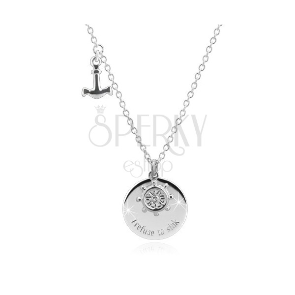 """925 Silber Halskette - Anker, Steuerrad, glänzender Kreis mit der Aufschrift """"I refuse to sink"""""""