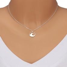 925 Silber Halskette - glitzernde Kette, geschnitzter Kreis mit Wellenkamm