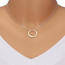 925 Silber Halskette - quadratische Kette, Kreis in rosa-goldener Farbe mit Ausschnitt und Aufschrift