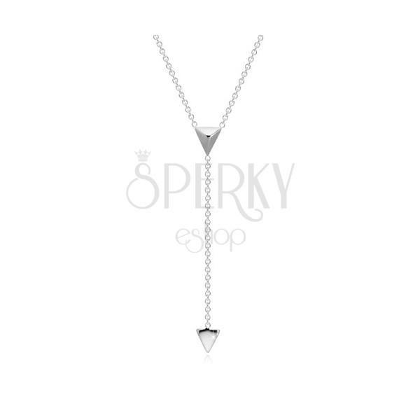 925 Silber Halskette - räumliches Dreieck und Pyramide an Kette