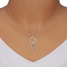925 Silber Halskette - Armee Kette, Herzumriss mit Zirkonen, herzförmiger Schlüssel