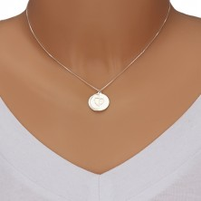 Halskette aus 925 Silber - eckige Kette, flache Kreise, Herz und Aufschrift