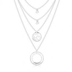 925 Silber Halskette - vier Ketten mit Anhängern, Kreise und Herz, Aufschrift