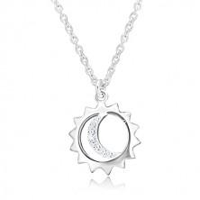 925 Silber Halskette - Anhänger an Kette, Sonnenumriss und Mond mit Zirkonen
