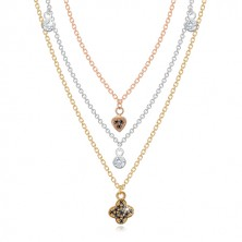 925 Silber Halskette - dreifarbige Kette mit Anhängern, klare und schwarze Zirkone
