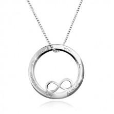 925 Silber Halskette - Kreisumriss mit Unendlichkeits-Symbol, Aufschrift, eckige Kette