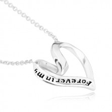 """925 Silber Halskette - Band in ein Herz gefaltet, """"Forever in my heart"""""""