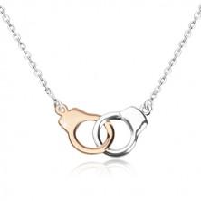 925 Silber Halskette - Handschellen in zweifarbiger Kombination, glitzernde Kette