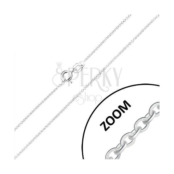 Kette aus 925 Silber - kleine runde Glieder rechtwinklig verbunden, 0,9 mm