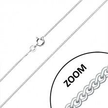 925 Silber Kette - gedrehte ovale Glieder, in Reihen verbunden, 1,3 mm