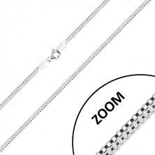925 Silber Kette - zwei miteinander verbundene eckige Ketten, Karabinerverschluss, 2,7 mm