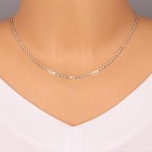 925 Silber Kette - glänzende ovale Glieder, rechtwinklig verbundene Glieder, 2,2 mm