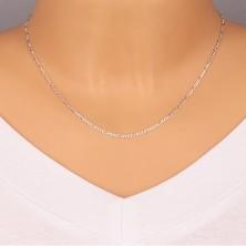 925 Silber Kette - Figaro Motiv, Glieder mit glänzenden abgeschnittenen Kanten, 1,5 mm