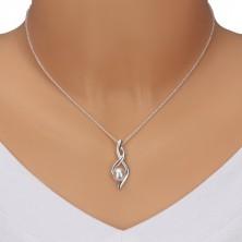 925 Silber Halskette - Nummer Acht, gewellte Bänder mit Perle, Kette